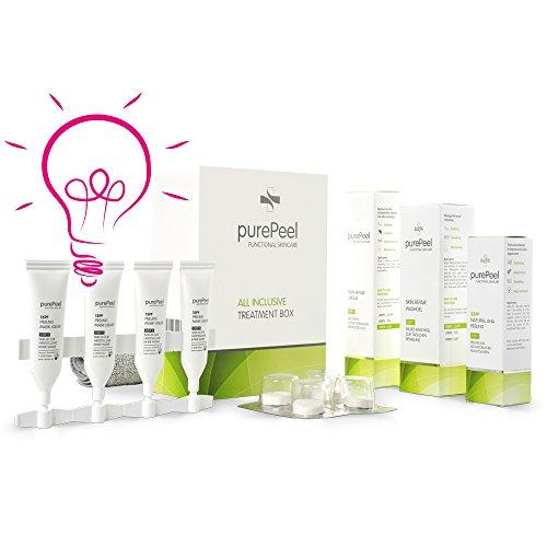 purePeel AHA-Fruchtsäure-Peeling/All Inclusive Box/Gesichtsreinigung, Gesichtspeeling, Gesichtspflege bei einem fahlen Teint, Unreinheiten, Pickeln & Fältchen/Peeling-Set