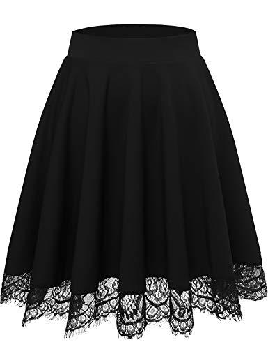 Damen Mini Rock Basic Solid Vielseitige Dehnbaren Informell Minikleid Retro Sexy Rock Faltenrock schwarz Rock Röcke für Damen Skirts Black S