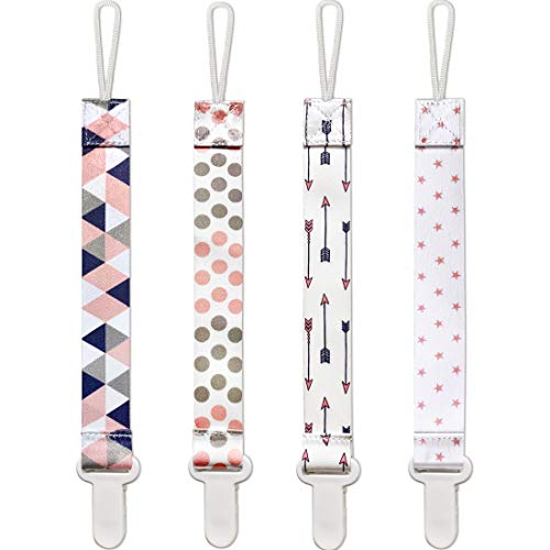 Pacifier Clip Girl, 4 Pack BPA Free Pacifier Holders Leashes for Teether Toy or Soothie, Fits All Pacifiers Baby Teething Toys, Baby Shower Gift Set