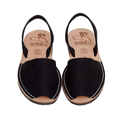 Authentic Avarca Menorquina Sandals Basic Seta Negro - Talla 37 EU