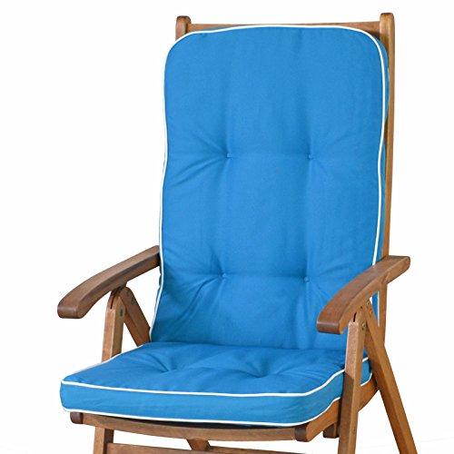Sun Garden 6 Auflagen für Hochlehner Sessel Tomiro 50077-131 blau weiß