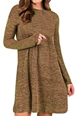 Material: 65%Cotton,35%Polyester,Stretchy,Good Elasticity, Soft and Comfortable. Feature:Long Sleeve,Crewneck ,Solid,Knitted Dress,Oversized ,Lightweight,Knee Length,Flowy Swing Sweater Dress Style: Long Sleeve Sweater Dress, loose fall Casual dress,...