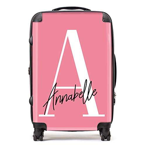 Personalised Pink & White Initial Large Monogram Handwritten Custom Suitcase with TSA Lock 4 Spinner Wheels Luggage 68cm 80Ltr