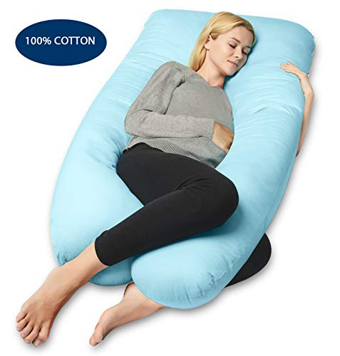 QUEEN ROSE Full Body Pregnancy Pillow, U-Shaped Maternity Pillow for Pregnant Women with Cotton Cover,Great for Anyone,Sky Blue