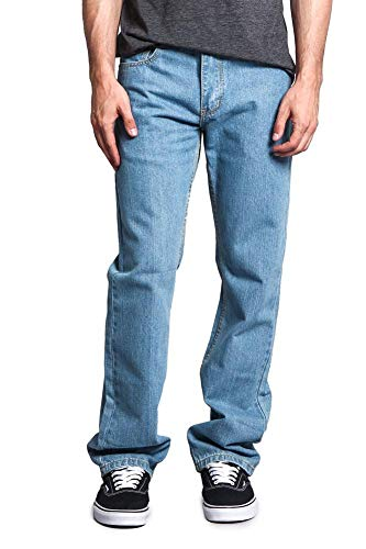Victorious Mens Straight Fit Color and Raw Denim Jeans DL105 - WASH/Light/Indigo - 34/32