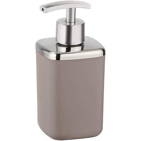 WENKO Distributeur de savon Barcelona taupe - Distributeur de savon liquide, absolument incassable Capacité: 0.37 l, Plastique (TPE), 7 x 16 x 7 cm, Taupe