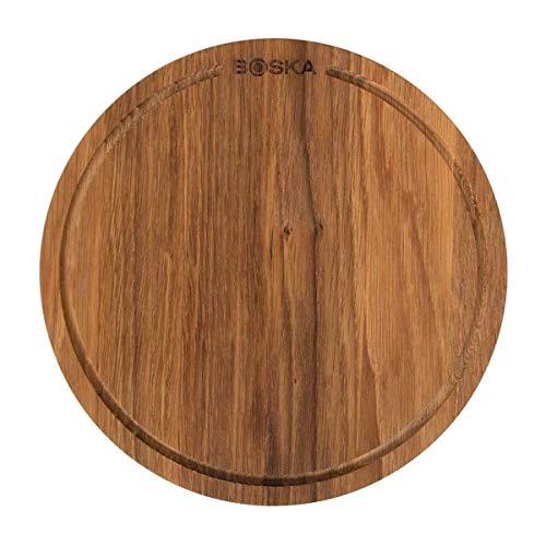 Boska Piedra de pizza Friends S - Marron tabla de roble - Pizza, tapas y otro aperitivos - Con un borde de recogida - 24 cm