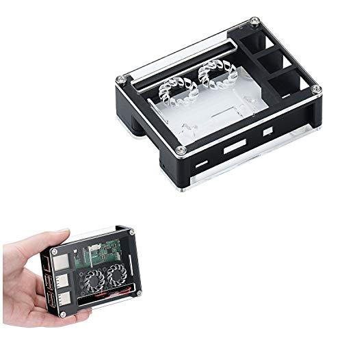 ILS - zwart acryl case ondersteuning dubbele ventilator voor Raspberry Pi 3B + plaat