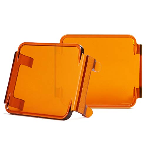 Swatow Industries 3 Inch Amber LED Pod Covers 2PCS Square LED Light Bar Covers LED Cube Covers Protective Polycarbonate Light Bar Lens Covers