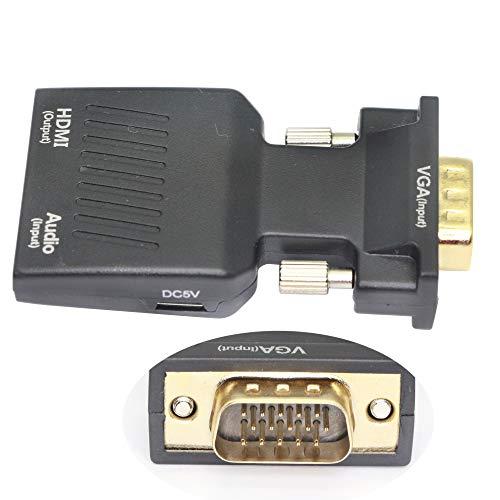 VGA till HDMI adapter konverterare med ljud, VGA hane till HDMI hona adapter med 3,5 mm ljud HD 1080P för dator, stationär dator, bärbar dator, PC, skärm, projektor, HDTV/TV/AV, bärbar storlek Plug and Play VGA Male to HDMI Female