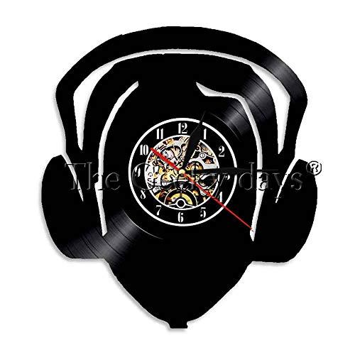 1 Pieza DJ música Auriculares Silueta Vinilo Disco Reloj de Pared Moderno...