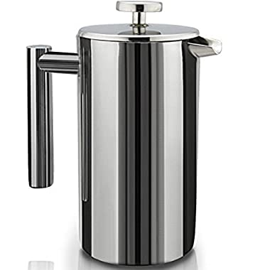 French Press Double-Wall Stainless Steel Mirror Finish (1L) Coffee/Tea Maker: Double-Screen System 100% No Coffee Grounds Guarantee, 18/10 Stainless Steel, Rust-Free, Dishwasher Safe,