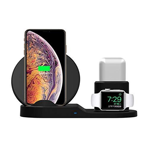 Rabbfay Mini Inalámbrico Cargador, 10W Rápido Cargando 3 en 1 Cargando Estación Compatible con Apple Watch Series 6/5/4/3/2/1, AirPods Pro, iPhone 12/12 Pro / 12 Pro MAX