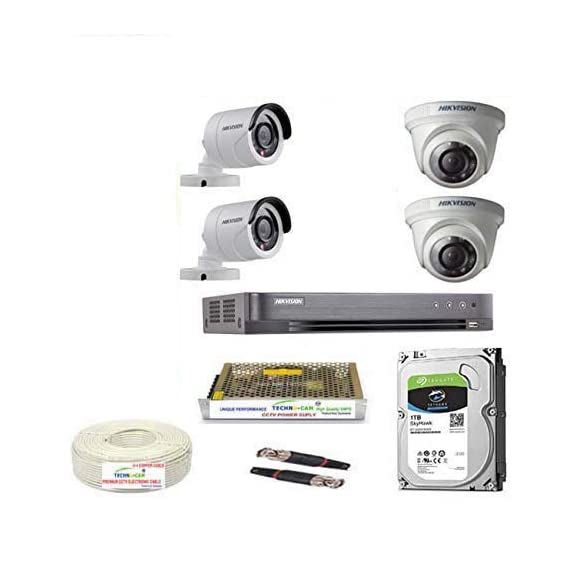 HIKVISION 3MP Cameras Combo 4CH HD DVR + 2 Bullet Camera + 2 Dome Cameras+1TB Hard DISC+ Wire ROLL +Supply & All Required CONNECTORS