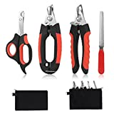 Bretheil Dog Nail Clippers Trimmer Set, Quick Safety Guard to Avoid Over-Cutting, Stainless Steel Razor Sharp Blades, Sturdy Non-Slip Handles, Storage Bag and Nail File, Professional Pet Grooming