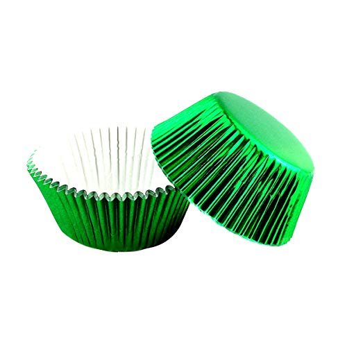 Warmparty Foil Baking Cups Cupcake Liners, Standard Sized, 200 Count (Green)