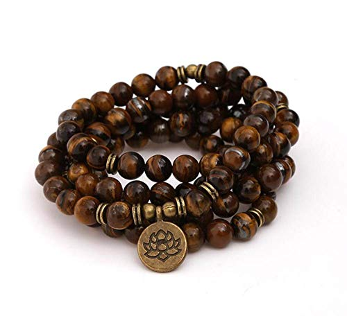 Natuurlijke steen Armband, Kralen Armband 108 Mode Yoga Energie Beaded Armband 8 Mm Bruin Tijger Steen Lotus Hanger Trui Ketting Stretch Kraal Armband Sieraden Gepersonaliseerde Kleding Accessoires