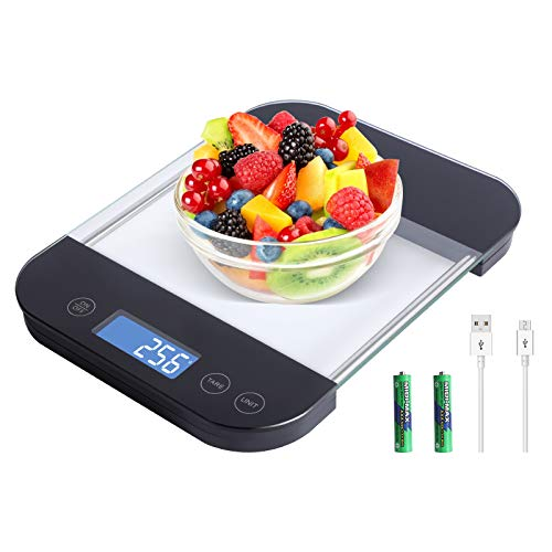 Accurate Digital scale for food and weight Loss, Measures in Grams and Ounces,USB rechargeable, gift for Cooking Baking, 1g/0.1oz Precise Graduation up to 5Kg/11Lb, 5 units with tare function