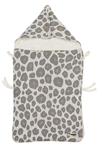 Meyco 2740015 Fußsack Velvet gefuettert 100% Baumwolle 100% Polyester (Füllung) Kinderwagen Kinderbuggy Maxi Cosy PANTER NEUTRAL
