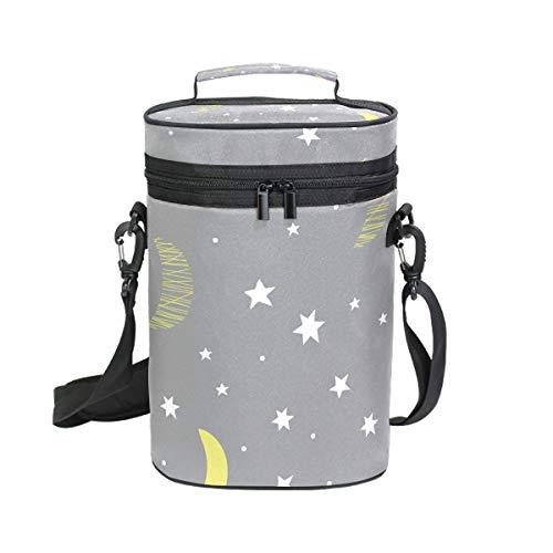 MALPLENA Bolsa de transporte de vino con 2 bolsillos para botellas, diseño de luna nocturna, bolsa de vino atractiva con acolchado externo grueso, fácil de transportar para viajes, picnics
