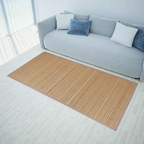 Festnight- Bambusteppich für Bad Schlafzimmer und Wohnzimmer 160 x 230 cm Braun | Bambus Teppich Bambusmatte mit rutschfeste Unterseite