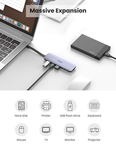 UGREEN USB C Hub with 4K HDMI Aluminum 5-in-1 Type C OTG Hub Multiport Adapter Thunderbolt 3 Dock with 3 USB 3.0 Ports 100W PD Charger Compatible for MacBook Laptop Phone and Tablet