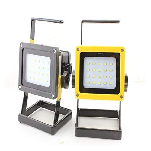 JSJJAUA Faroles de Mano 1pcs 20 * Proyector de SMD LED luz de inundación del Reflector de la batería Recargable Camping al Aire Libre Pesca Deportiva Linterna y Cargador (Body Color : Yellow)