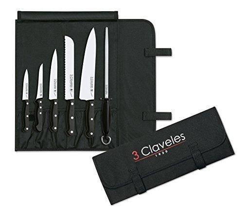 3 Claveles set, 5 messen + Chaira + transportkoffer, lijn uniblock, roestvrij staal, zwart, 0 cm