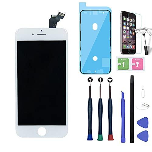 Xlhama Vetro Schermo Compatibile per iPhone 6 Bianco LCD Display New Touch Screen Retina Frame Kit Smontaggio Adesivo Completo di Ricambio Utensili Strumenti Vetro Temperat