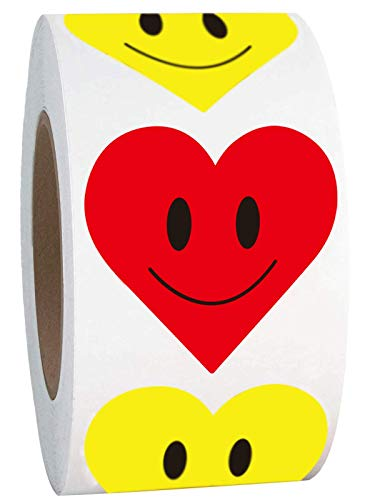 2 Inch Yellow Heart Smiley Face Red Heart Shaped Happy Face Stickers Roll - Round Circle Teacher Labels Reward Stickers 500 Adhesive Labels (Yellow, 2 inch)