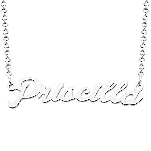LoEnMe Jewelry Silver Plated Priscilla Necklace 925 Women Name Personalized Custom Choker Teething Top Personalized