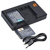 DSTE 2PCS NP-FT1(1300mAh/3.7V) Batería Cargador Compatible para Sony CyberShot DSC-L1,DSC-M1,DSC-M2,DSC-T1,DSC-T3,DSC-T3S,DSC-T5,DSC-T9,DSC-T10,DSC-T11,DSC-T33 Digital Cámara