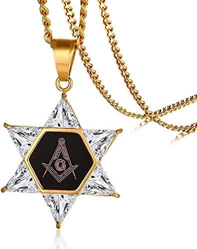 NC83 Collar con colgante de estrella de David con hexagrama masónico de zirconia cúbica de acero inoxidable