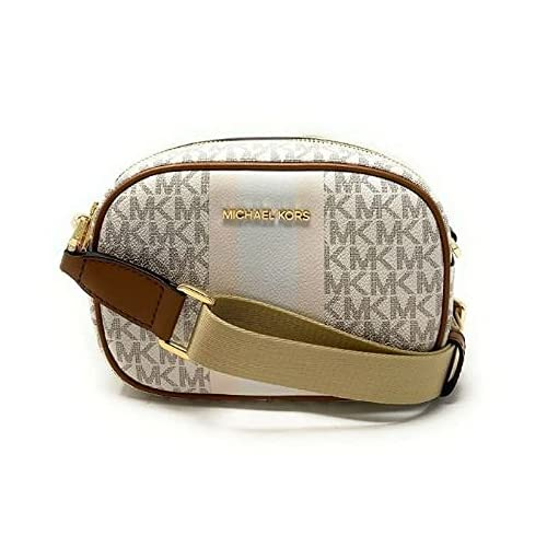 """Imported Gold Hardware Material: PVC leather Slip Pocket on Back Nylon and Leather Crossbody strap with Adjustable 24"""" Drop Interior has MK Signature Fabric and has 1 Slip Pocket and 3 Card Slots Approximate Measurements: 8"""" L x 5.5"""" H x 2.5"""" D"""