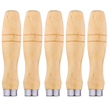 5-piece Wooden File Handle with Strong Metal Collar  4.3 inches