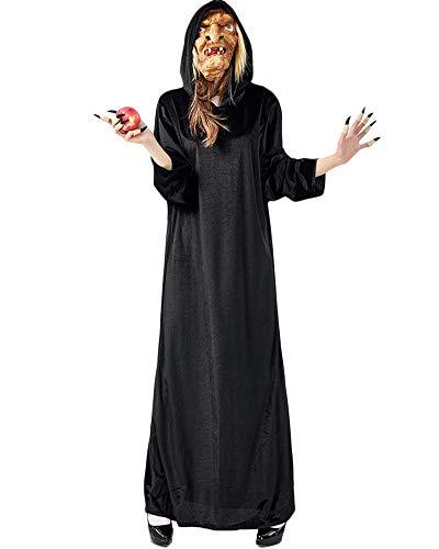 YAOTT Disfraz De Halloween Traje De Vampiresa Mujeres Cosplay Vestido De Bruja 3PCS(Vestido + máscara + Dedos Falsos) S