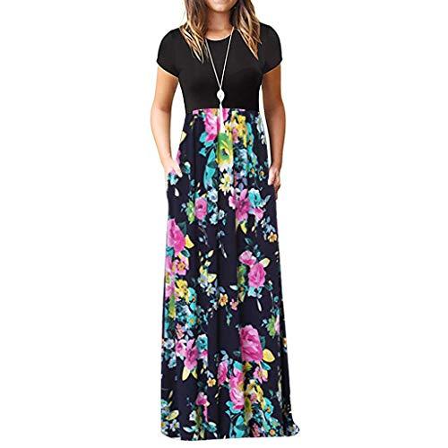 TIFIY Sommerkleid Damen,Elegante Casual Ärmel Oansatz Druck Maxi Blumen Langes Kleid Boho Strand Partykleider Hemdkleider (A_ i,XL