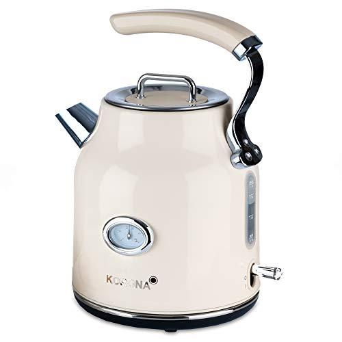 Korona 20666 elektrischer Wasserkocher | Creme | 1,7 Liter | 2.200 Watt | Kalkfilter | Dampf-Stopp | Trockengeh-Schutz | heißes Wasser, Tee und Kaffee | Aufbrühen