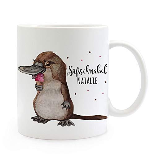 ilka parey wandtattoo-welt Tasse Becher Schnabeltier mit EIS & Süßschnabel Name Wunschname Kaffeebecher Geschenk Spruchbecher ts983