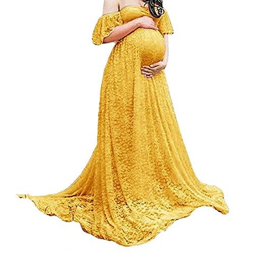 NIYUE Vestidos Mujer Fiesta Largos Boda Mujer Embarazada Encaje Manga Corta Floral...