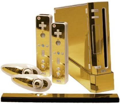 Gold Chrome Mirror Vinyl Decal Faceplate Mod Skin Kit for Nintendo Wii Console by System Skins