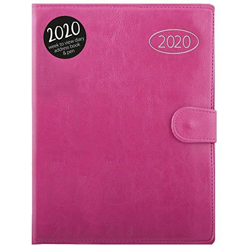 Diario e agenda personale del 2020, visualizzazione settimanale, formato A5, con penna e rubrica A5 rosa