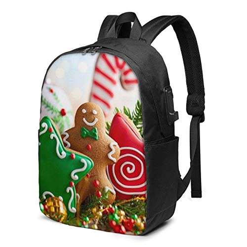 XCNGG Laptop Rucksack, 17 Zoll Travel Leichter Rucksack mit USB-Ladeanschluss Lebkuchenmann Candy