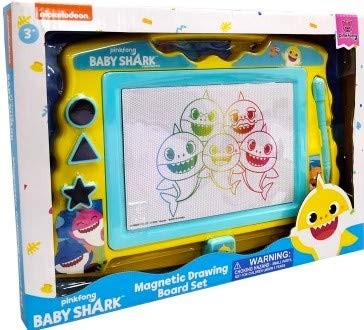Lollipop Baby Shark Magnetic Drawing Board with Stylus and 3 Stamps, for Boys or Girls (Blue)…