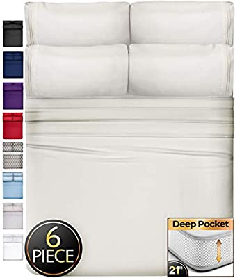 6 Piece King Size Sheets Extra Deep Pockets - Extra Deep Pocket King Sheets Deep Pocket King Bed Sheets King Sheet Set Bedding Sets King Size Bed Sheets King Size Bedding Set King Fitted Sheet Ivory