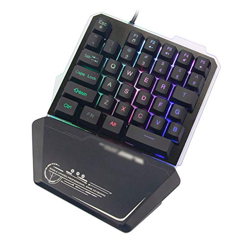 CAPTIANKN G40 One-Handed Game Keyboard Mechanisch Mini Spel Metaal Toetsenbord, Kleurrijke Lichten, Mixedcolorblackpanel