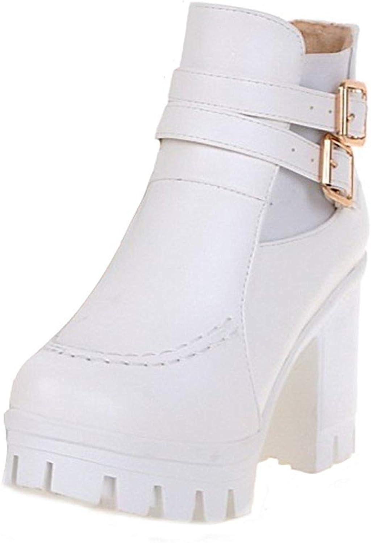 Ghssheh Women's Trendy Buckle Straps Elastic Round Toe Block High Heel Platform Ankle Boots Black 7 M US