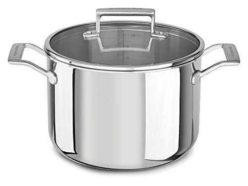 KitchenAid KC2T80SCST Tri-Ply 8.0 quart Stockpot with Lid, Stainless Steel, Medium