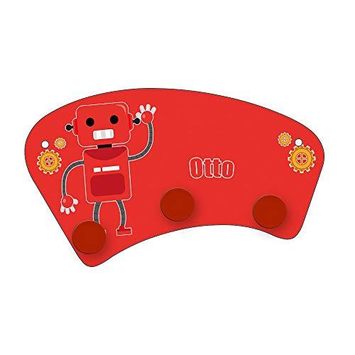 Eurofoto Wand-Garderobe mit Namen Otto und Roboter-Motiv für Jungen | Garderobe für Kinder | Wandgarderobe