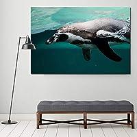 かわいい動物の絵画海の脂肪ペンギンリビングルームの壁の写真キャンバス絵画壁アートプリントポスター-60x90cmフレームなし